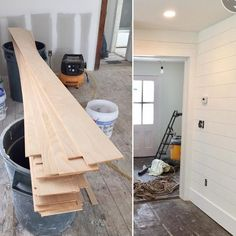 I'm excited to show you, what starts out as inch thick plywood, turns into perfect shiplap once it is installed! Many people have asked what we used in our farmhouse to make our shiplap, this is the answer and here it is in progress!%categories%Home Wainscoting Nursery, Dining Room Wainscoting, Wainscoting Styles, Black Wainscoting, Wainscoting Panels, Wainscoting Height, Painted Wainscoting, Home Renovation, Home Remodeling