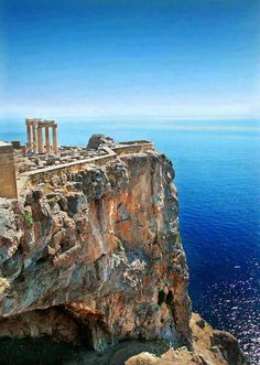 Lindos in Rhodes - When I climbed up there and looked out over the blue water my…
