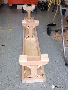 wood bench angles | assembled, I attached them to the bottom of the bench tops with wood ... #WoodworkingBench