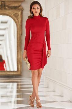 Red Boston Proper Slim & Shape turtleneck rauched Knit dress #bostonproper $100