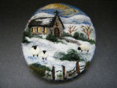 Handmade needle felted brooch/Gift 'Christmas Morning ' by Tracey Dunn | eBay