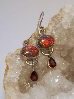 Garnet Earring Set 1 with Fire Opal
