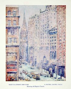 1956 Print Michel Jacobs West 57th Street New York Cityscape Old Baptist Church