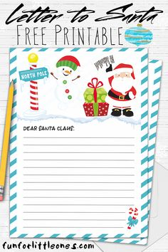 Santa letter template free printable, Santa letter template, Christmas letter template, Letters for kids, Christmas lettering, Templates printable free - Have the kids write a letter to Santa with thi -  #Santaletter #templatefreeprintable