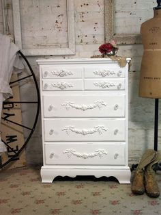 Painted Cottage Chic Shabby White Romantic by paintedcottages, $295.00