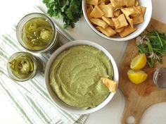 Quick-Pickled Jalapeños and Cilantro Jalapeño Hummus