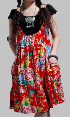 lovely mini Red babydoll Cotton dress. $59.00, via Etsy.