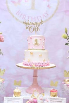 Pink & Gold Butterfly Theme Birthday Party Ideas | Photo 1 of 30