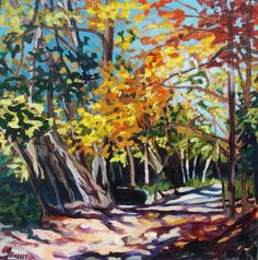 """""""The Dappled Shade"""", Taylor Creek Park. Acrylic on Canvas Abstract Painting Techniques, Art Articles, Dog Love, Find Art, Images, Watercolor, Park, Canvas, Painting Trees"""