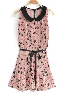 Pink Lapel Sleeveless Ruffle Loose Chiffon Dress. I think I'm in love!