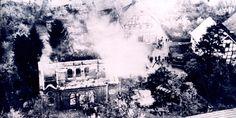 W.W. II, 1938, Korbach, Germany. A synagogue and Jewish school burning down on Kristallnacht.