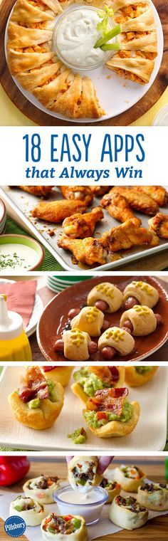 18 Easy Apps That Always Win Calling all football fans: From crescent rings and chicken wings to cheesy totchos and jalapeño poppers, these super-easy game day appetizers play to win. Finger Food Appetizers, Yummy Appetizers, Appetizers For Party, Appetizer Recipes, Tailgate Appetizers, Fingerfood Recipes, Cuisine Diverse, Football Food, Football Apps