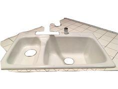Vintage Kohler Kitchen Sink AR 5924 33 X 22 2S , White, Dual Iron Tub, Compactor #Kohler