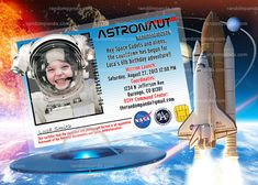 Out Of This World Party, Astronaut Invitation, Alien Invitation - Add Space Helmet These invite photo cards are bright, colorful, and way fun for Astronaut Party, Girls Party Invitations, Outer Space Party, Funny Photoshop, Simple Prints, Large Photos, Out Of This World, Photo Cards, Birthday Parties