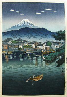 [Mt. Fuji from] Tokaido Numazu (Numazu Harbour), by Tsuchiya Koitsu, 1940