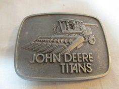 John Deere Titans belt buckle with corn head combine, advertising 1978 Moline, Illinois