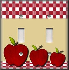 Beau Metal Light Switch Plate Cover   Red Apples Decor Kitchen Decor Apple Decor