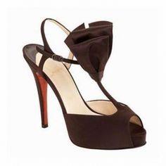 Christian Louboutin Ernesta T-Strap Bow Sandals Dark Brown - $93.59