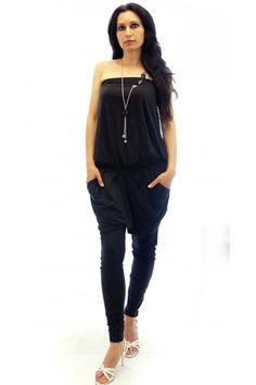 Black women jumpsuit with bustier top. The bottom part is with pockets and breeches.