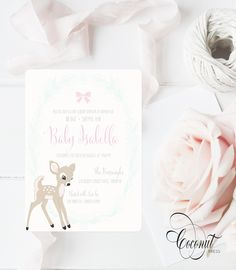 Baby Shower Invitations // Baby Deer, Bows, Pink // Invitations & Design by Coconut Press Pink Invitations, Invitation Design, Baby Shower Invitations, Boutique Design, A Boutique, Baby Deer, Personalized Stationery, Wedding Events, Identity
