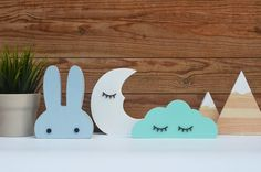 Making Wooden Toys, Handmade Wooden Toys, Bunny Nursery, Nursery Decor, Room Decor, Diy Projects To Make And Sell, Rabbit Head, Clouds Nursery, Wooden Rabbit