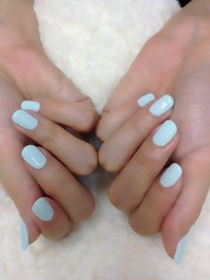 Ice blue nails.