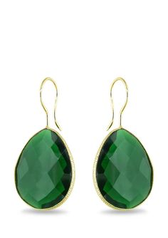 ICE.COM 42ct Pear-Shaped Emerald Earrings