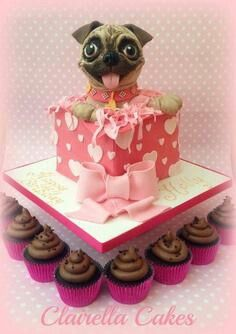 pug puppy cake 4 u lily xd Creative Desserts, Creative Cakes, Fancy Desserts, Fancy Cakes, Cute Cakes, Pugs, Puppy Birthday Cakes, Amor Pug, Pug Cake