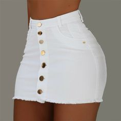 OFF Jeans Skirts Buttons High-Waist Mini Fashion Women Summer Strench All-Matching Denim Trend Fashion, Teen Fashion Outfits, Swag Outfits, Cute Casual Outfits, Stylish Outfits, Girl Outfits, Fashion Skirts, Women's Fashion, Bodycon Fashion