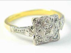 Romantic Art Deco Scalloped Cushion Square Diamond Ring c.1920's in 18ct Yellow Gold and Platinum