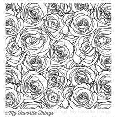 My Favorite Things ROSES ALL OVER BACKGROUND Cling Stamp MFT BG44