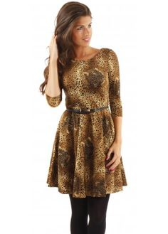 Traffic People Audrey Dress Leopard Skater With Belt 7ca519295