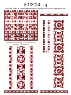 Semne Cusute: ie din Muscel, MUNTENIA / embroidery patterns for the traditional… Embroidery Motifs, Machine Embroidery, Embroidery Designs, Cross Stitch Borders, Cross Stitch Patterns, Popular Costumes, Antique Quilts, Embroidery Techniques, Beading Patterns