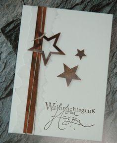 Ich weiß nicht ob man das so richtig sehen kann aber die Sterne sind aus Kupferblech - das braune Band ist ein Lederband uterlegt mit einem ...