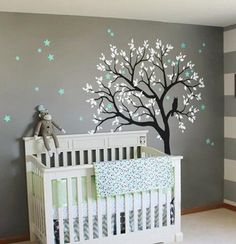 Large Owl Hoot Star Tree Kids Nursery Decor Wall Decals Wall Art Baby Decor Mural Sticker