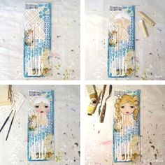 Gorgeous golden haired girl on blue themed shabby mixed media background. Next to come she will receive a dress and motivational message. Mixed media art, Le Petite Bijou.