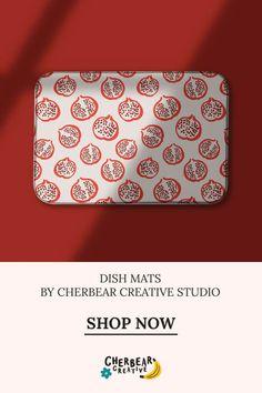 Pomegranate Dish Mat by Cherbear Creative Studio Design Textile, Fabric Design, Pattern Design, Bandana Bow, Sarah Walker, My Highlights, Creative Studio, Pomegranate, Lifestyle Blog