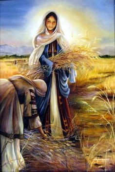 "Women of the Holy Bible, ""Ruth"", she gleaned in the fields where Boaz left her handfuls on purpose. They later married, Boaz is a kinsman redeemer, a type of Christ. Her name means friend. Lds Art, Bible Art, Ruth Bible, Scripture Pictures, Jesus Pictures, Christian Pictures, Bible Illustrations, Jesus Art, Prophetic Art"