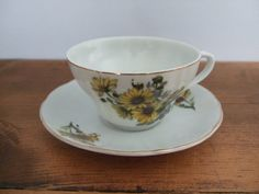 Vintage Black Eyed Susan Cup and Saucer by Nippon by jessamyjay