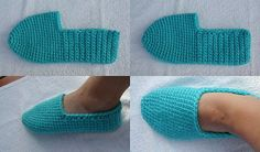 Neljässä polvessa: Virkatut tossut - can I translate this?Easy crocheted slippers, pattern in Finnish. The tutorial is in Finnish but it has images. Puff Stitch Crochet, Crochet Ripple, Crochet Slippers, Knitting Socks, Free Knitting, Knitting Patterns, Crochet Patterns, Crochet Home, Easy Crochet