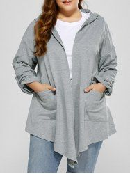 Hooded Asymmetrical Plus Size Cardigan with Pocket