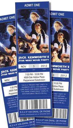 Movie Ticket Birthday Invitations: Star Wars. $9.95, via Etsy.