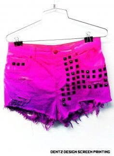 Hot Pink Neon Studded Ombre Shorts