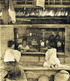 """Sari-sari store, Unknown location in the Philippines, early Century.The word sari-sari is Tagalog meaning """"variety"""". Philippines Culture, Manila Philippines, Philippines Travel, Filipino Art, Filipino Culture, Filipino House, Old Photos, Vintage Photos, Filipino Fashion"""