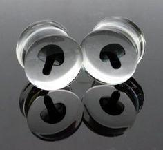 7/16 11mm Pyrex Glass Black Mushroom Double Flare Ear Gauge Plug (Sold As Pair): Jewelry: Amazon.com