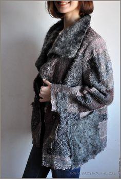 """Купить Куртка """"Невенград"""" - темно-серый, абстрактный, куртка, куртка женская, куртка валяная"""
