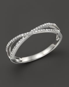 Diamond Crossover Band in 14K White Gold, .14 ct. t.w. | Bloomingdale's
