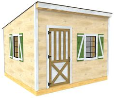 The victor plan is a simple backyard shed with a basic shed style roof and single pane windows.