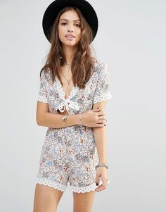 Young Bohemians Romper With Tie Front And Lace Trim Hems