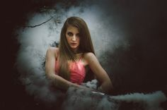Beauty in the Smoke by Klára Zamouřilová on 500px, portrait, girl, woman, smoke, hair, dark